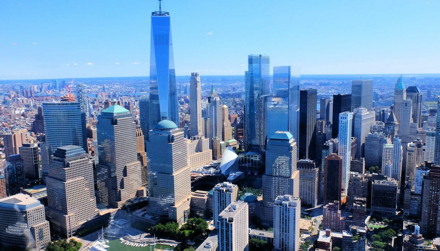 Lower Manhattan y el Financial District en Nueva York - Vista aérea