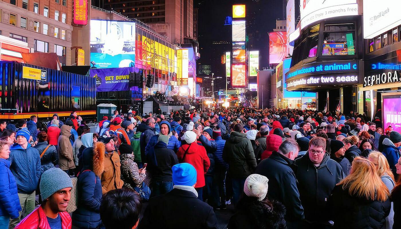 Fin de Año en Nueva York - Multitud en Times Square