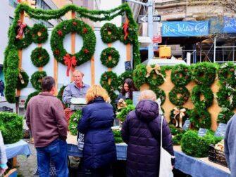 Mercados de Nueva York - Coronas navideñas en Union Square