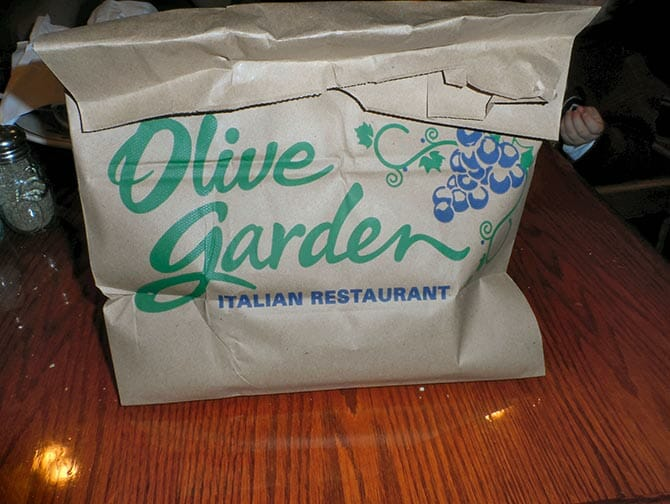 Doggy bag en Nueva York - Olive Garden