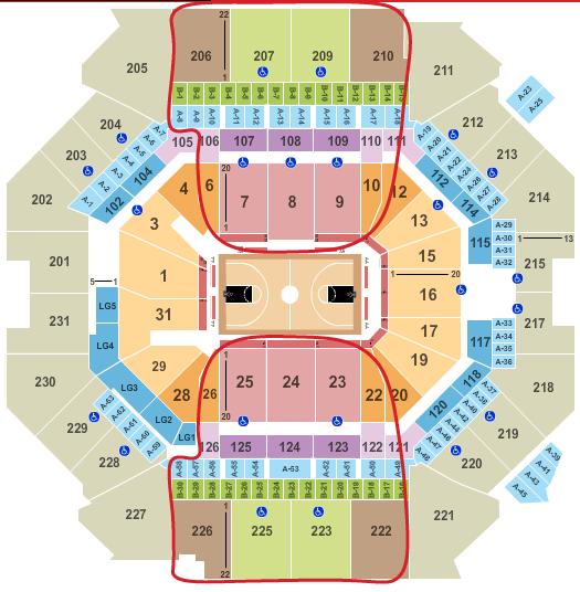 Tickets para los Brooklyn Nets - Plano del Barclays Center