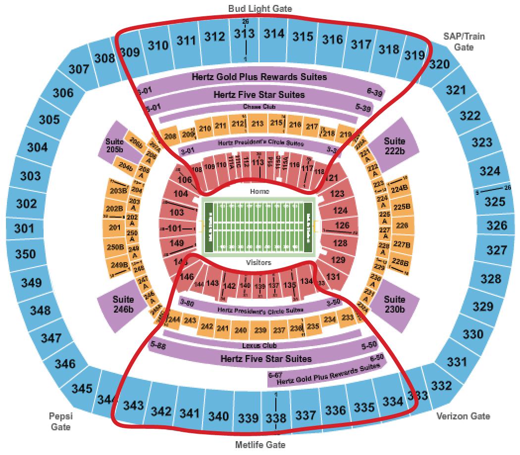 Tickets para los New York Jets - Plano del MetLife