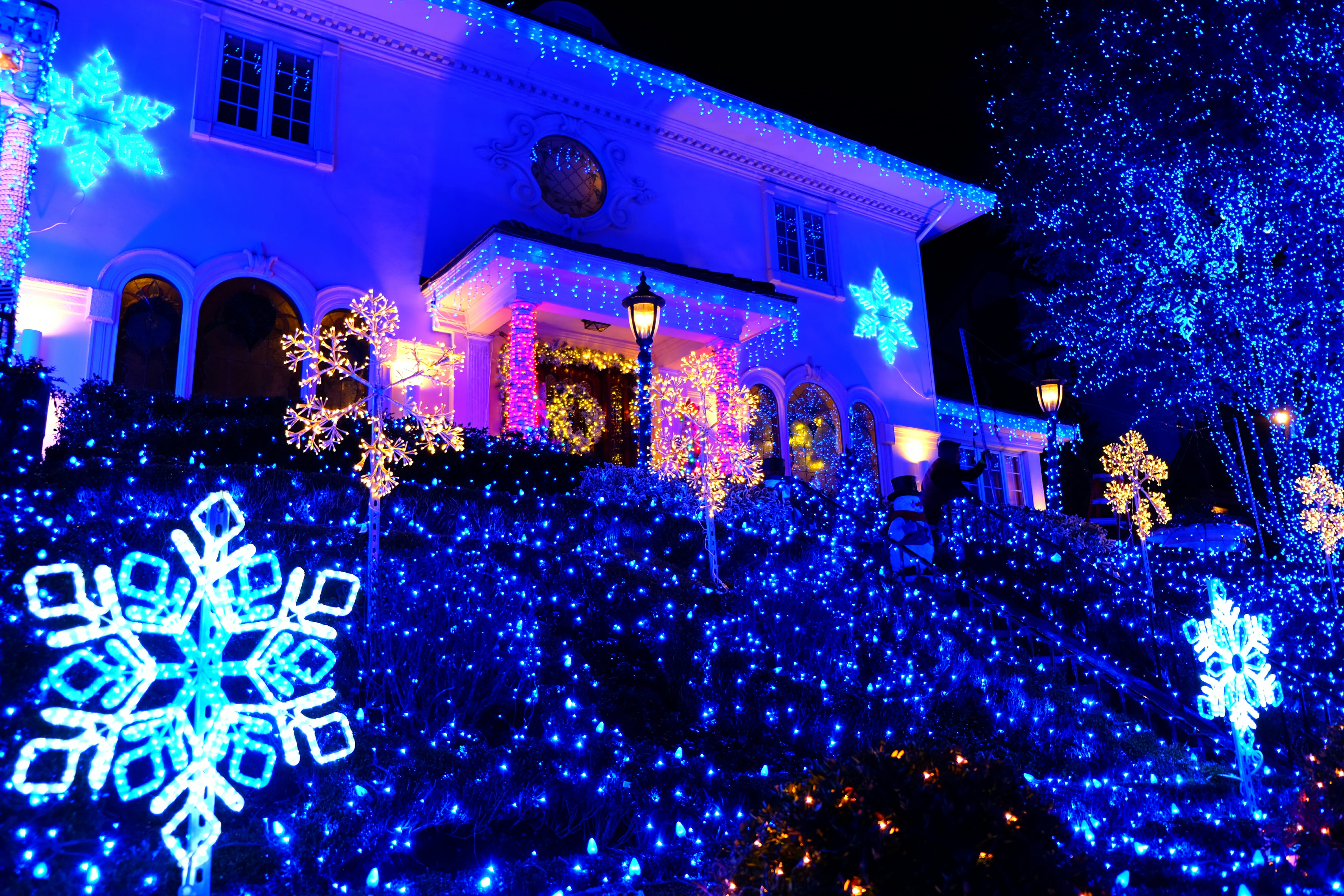 Dyker Heights Christmas Tour Blue House High Quality Wallpaper